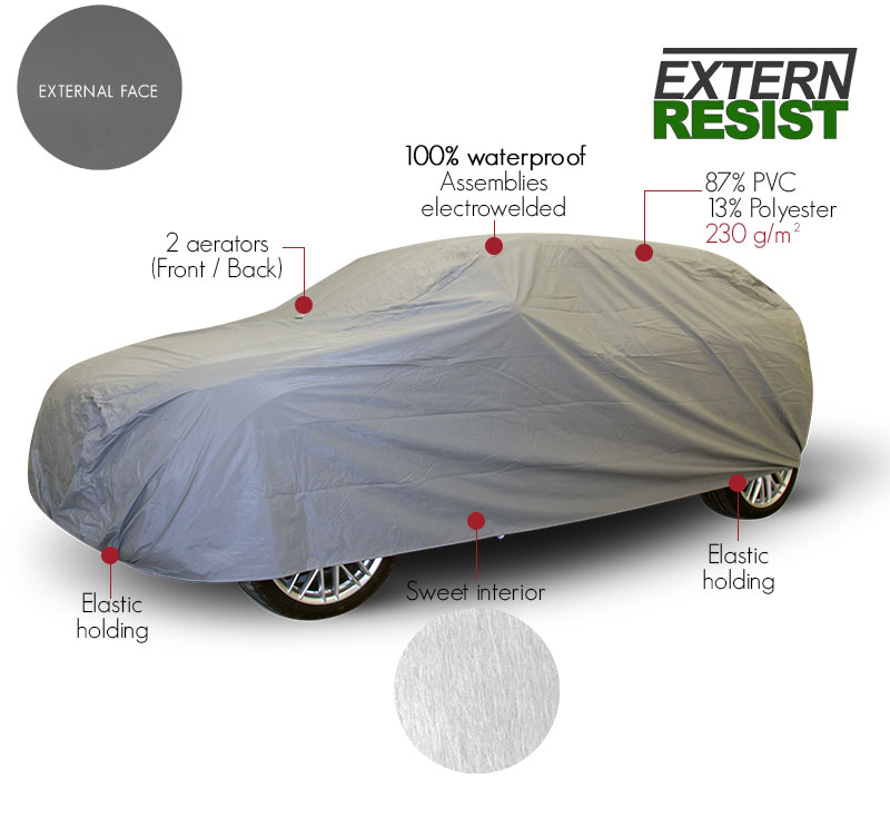 outdoor protective car cover in grey PVC ExternResist